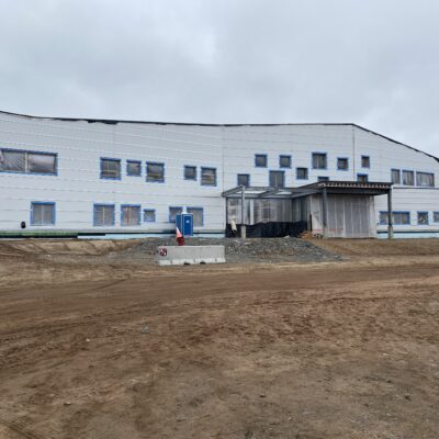 Front of the building, the main entrance is starting to emerge.