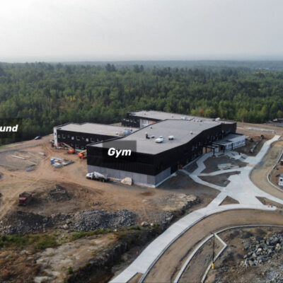 This view of the Laurentian Elementary is from the North. The parking lot and grounds are starting to take shape.