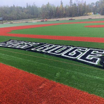 Turf installation on the JV Baseball Field
